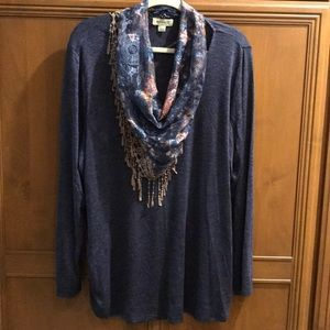 NWOT One World Long Sleeve Top removable scarf